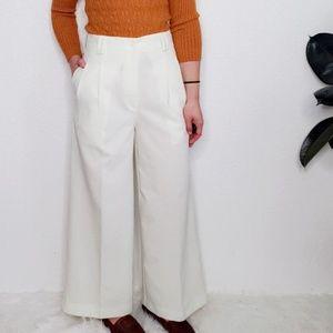 Vintage Ivory High Rise Wide Leg Trouser Pants 568